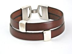 Coffee liqueur brown double wrapped bracelet with zamak clasp and interpieces