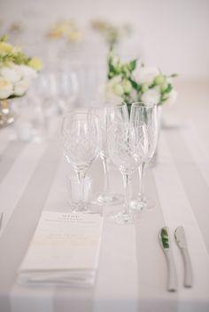 Grey Wedding Inspiration | Striped Tablecloth