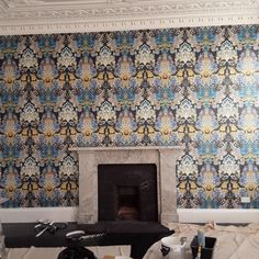 Recent customer shot of our Damsel Damask Wallpaper being installed in their Victorian proportioned front room. Damask Wallpaper, Designer Wallpaper, Damask Decor, Timorous Beasties, Curtain Fabric, Lampshades, Cool Designs, Pattern Print, Interior Design