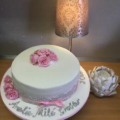 Christening cake with pink fondant roses Fondant Rose, Christening, Roses, Baking, Cake, Desserts, Pink, Food, Pastel