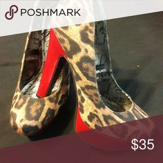 c8c1c1fb17c4 Women s shoe Cheetah high heels with red heel and red platform Material  Girl Shoes Heels