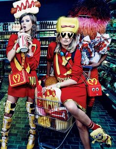 Lindsey Wixson & Hanne Gaby Odiele by Giampaolo Sgura for Vogue Japan October 2014; I love this funky moschino collection