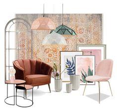 """Living."" by marga-vandertol on Polyvore featuring interior, interiors, interior design, thuis, home decor, interior decorating, Safavieh, Vintage Print Gallery, Anthropologie en Art Addiction"