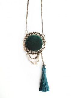 Velvet Luxury Brooch Necklace $27.00