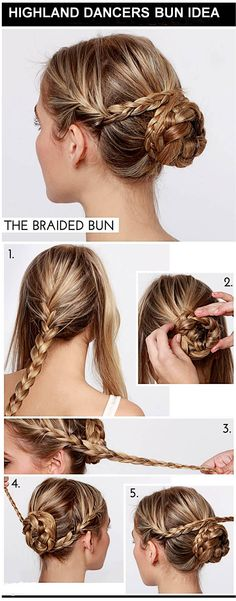 Highland dancers bun idea.