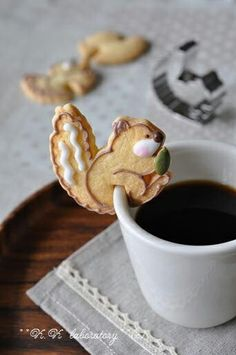 Coffee with a squirrel cookie