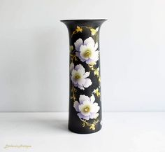 Vintage Shore and Coggins Ltd?CS England 'Mikado' pattern Black and Flowers Tall Vase Retro Home Decorative Vase Collectible English Pottery by LittlemixAntique on Etsy