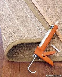 Martha has taught us that rather than buying those ridiculously expensive anti-slip mats for a rug, just turn it over and run a few lines of acrylic-latex caulk every 6 inches or so. Let dry and flip over and your rug wont be going anywhere!