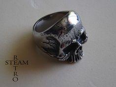 Homme Bague Acier Inoxydable Crâne squelette main doigt Os Gothique Vintage silver