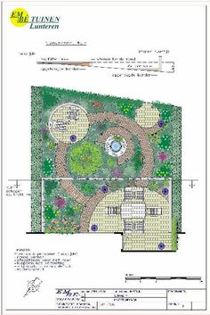 Garden with round theme and circular path amid the planting.
