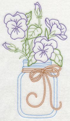 Blooming Violas in Mason Jar (Vintage) design (L9383) from www.Emblibrary.com