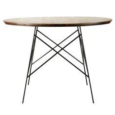 Mesa de comedor de roble macizo y metal An. 120 cm