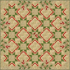 Edyta Sitar's Joy Quilt. Gorgeous! Green sawtooth stars alternated with red sawtooth frame around larger square. Love the holly applique and bird on limb in the middle. Pattern in online store at Laundry Basket Quilts.