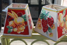 Fruit Lamp Shade Retro Lampshade in 50's Fabric by lampshadelady