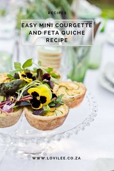 Easy mini Courgette and Feta Quiche recipe by Simone Kruger from Yellow Papaya. Mini Quiche Recipes, Flower Food, Easter Recipes, Perfect Food, Quick Easy Meals, Finger Foods, Food Styling, Feta, Food Ideas