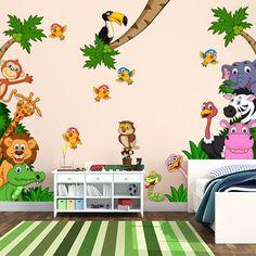 """Adesivo murale per bambini Wall Art """"Cameretta Safari"""" - Decorazione parete, adesivi per muro, carta da parati"""
