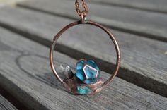 Blue Fluorite,Blue Apatite,Topaz Crystal Copper Electroformed Circle Pendant