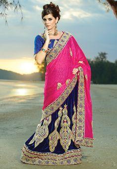 #Acceptable Pink & Blue #Border Work Saree