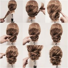 Braided hairstyle inspiration. Side braid twisted up and pinned. Then take the ends after the ponytail holder and use bobby pins to mask them into the braid.