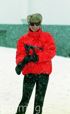 March 26, 1994: Princess Diana on a skiing holiday in Lech, Austria.