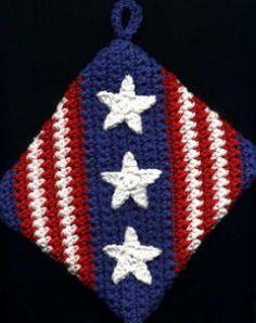 Fourth of July Potholder, independence, free crochet pattern Crochet Gratis, Free Crochet, Knit Crochet, Crochet Geek, Crochet Birds, Crochet Animals, Crochet Potholders, Crochet Squares, Granny Squares