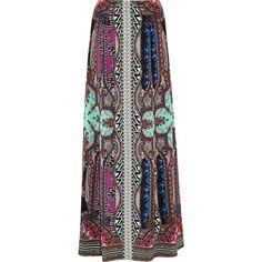 Etro Printed silk maxi skirt ($1,530) ❤ liked on Polyvore featuring skirts, black silk maxi skirt, long black skirt, black flared skirt, black flare skirt en black skirt