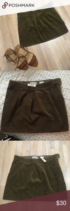 NWT Madewell Olive corduroy skirt with pockets 💚 NEW WITH TAGS! Adorable, chic corduroy skirt by Madewell with front pockets. Never worn. Size 28. Side zipper and clasp. This is the perfect skirt for fall/winter to pair with some tights😍 make an offer! 💕 bundle and save!! Madewell Skirts