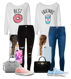 """my bestfriend & i"" by queen-hstyles ❤ liked on Polyvore featuring Casetify, Givenchy, Frame Denim, Converse, Isaac Mizrahi and Mulberry"