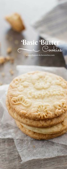 Basic butter cookie Cookie Desserts, Just Desserts, Dessert Recipes, Butter Cookies Recipe, Yummy Cookies, Cookie Butter, Tea Cakes, Holiday Baking, Christmas Baking
