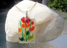 Fused Glass Necklace Blooming Branches by Shakufdesign on Etsy, $22.00