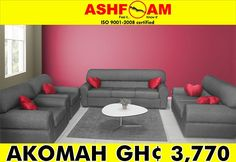 Pass to our show rooms nation wide to purchase one of our Akomah Couches and relax in comfort with Ashfoam Ghana MADE IN GHANA -AVAILABLE NATIONWIDE CONTACT US:  Greater Accra - 0243 200 729 Ashanti Region - 0248 005 300  Visit us on www.ashfoamghana.com Follow us on: Facebook Ashfoam Ghana Twitter @Ashfoam Ghana  Instagram @Ashfoam Ghana