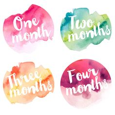 Have fun with these 12 Artsy Watercolor Monthly Baby Milestone Stickers! They make a great shower gift for parents who are expecting, or just
