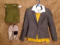 Fall Work: Talbots white sleeveless button up and brown dress socks, Ann Taylor mustard pullover, Gap green khakis and grey loafers, H&M grey blazer, Express necklace