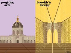 Paris versus New York illustrations
