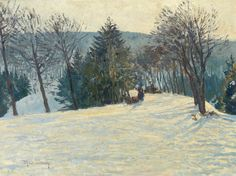 Max Clarenbach (German, 1880-1952), Winterlandschaft. Oil on canvas, 60.5 x 80 cm