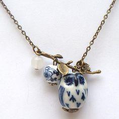 Antiqued Brass Leaf Jade Porcelain Owl Necklace
