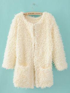 White Round Wool Coat