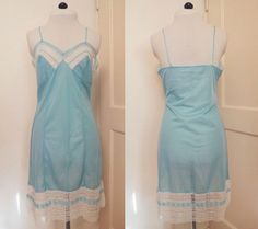 1960s Light Blue Full Slip with Lace Trim S-M by willynillyvintage