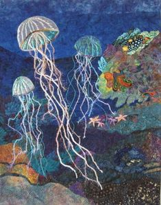 """ Drifting Thru Life"" jelly fish under the sea by Eileen Williams / Yey! Eileen Williams has her own pin boards. I really admie her quilt/fabric works of art. She takes quilting to a whole new level. Wonderful and inspiring. Ocean Quilt, Fish Quilt, Beach Quilt, Fish Under The Sea, Fiber Art Quilts, Landscape Art Quilts, Sea Art, Sea Theme, Applique Quilts"