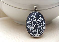 Boho Jewelry Navy Blue Silver Necklace Flower Boho Necklace Bohemian Gift for…
