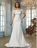 OFF SHOULDER LACE BOHO WEDDING LACE DRESS BOHO BRIDESMAID DRESSES       Silhouette Trumpet / Mermaid   Neckline Off-the-shoulder   Waist Natural   Hemline / Train Sweep / Brush Train   Sleeve Length Short Sleeve   Sleeve Style T-shirt   Embellishments Appliques   Back Details Zipper   Fully Lined Yes   Built-in Bra Yes   Fabric  Chiffon, Lace    Shown Color Ivory   Special Product Category  Plus Sizes, Petite