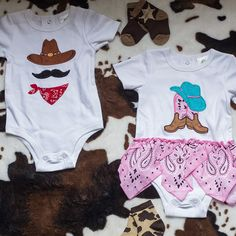 Get your little ones ready to giddyup and go in these onesies.