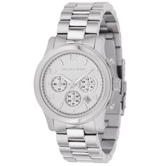 This timepiece by Michael Kors for women offers a stainless steel case and bracelet. The watch features a silver chronograph dial, a date display, a precise quartz movement, and a water-resistance level of up to 100 meters.