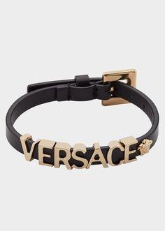 Versace Logo Leather Bracelet - Black Bracelets