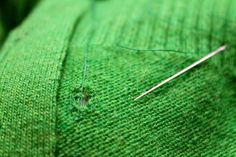 Tutorial on how to mend a hole in your knitwear. It's a good idea to take care of these while they're still small.