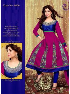 VandV Blue And Rani Pink Colored Churidar And Glorious Designer Anarkali Suits