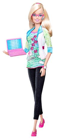 Computer Engineer Barbie, 2010  In 2010, Barbie brushed up on her binary code and became a computer engineer. The career move was voted on by half a million Barbie fans. Note the pink laptop