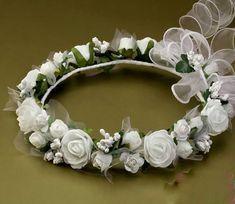 Flower Tiara, Flower Crown, Flowers In Hair, Fabric Flowers, Lilac Wedding Invitations, First Communion Decorations, Diy Crown, Wedding Hair Pins, Polymer Clay Flowers