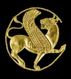 Gold sphinx found at Persepolis   (Ancient Persian Lion Roundel Artifact)