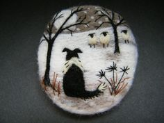 Handmade needle felted brooch Gwen and the Snowy Night by Tracey Dunn